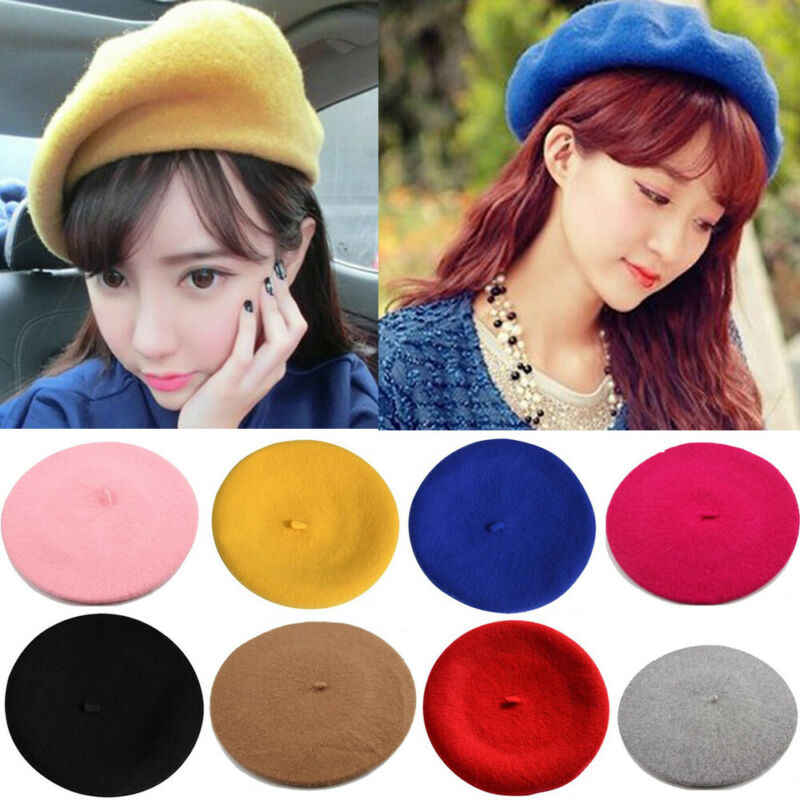 Hirigin Warm Beret Women Wool Winter Beanie Hat Solid Women's Girl's Beret Female French Black White Gray Pink Boinas De Mujer