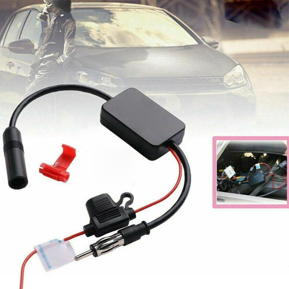 DC10 ~ 15V FM 88-108MHz Car Antenna Signal Amp Booster Radio Amplifier Car Electronics Automobiles Audio Black Car Accessories