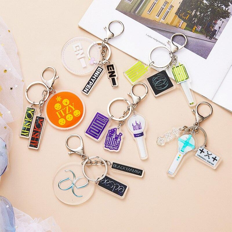 Брелок для ключей KPOP Nct Itzy Txt GIDLE Aespa Enhypen, брелок для ключей из трех частей, брелок для ключей с туманным кулоном по периметру, брелок для сумки,...