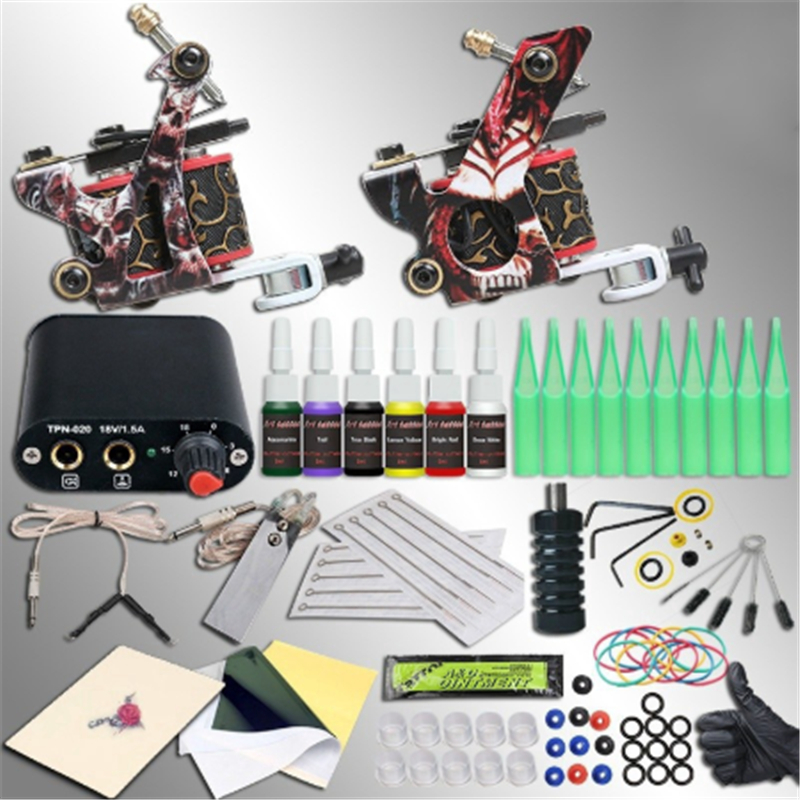 New Complete Professional Tattoo Machine Kit Sets 2 Machine Gun For Body Art 6Colors Inks Power Supply