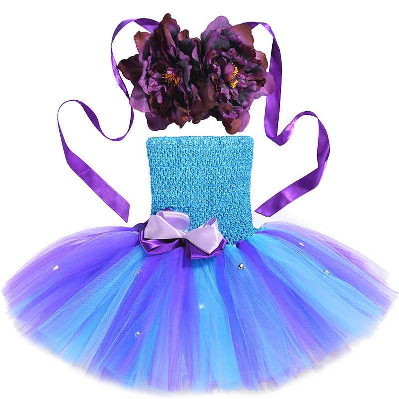 Хэллоуин Принцесса Девочка Русалочка Ариэль рыба пачка хвост платье младенец дети цветы 1 день рождения костюм для Cake Smash костюм
