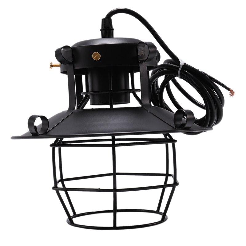 1 Pcs Black Loft Retro Industrial Metal Cage Pendant Lamp Fixture Iron Art