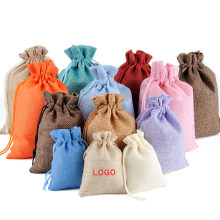 20Pcs/lot Drawstring Natural Burlap Bag Satin Jute Gift Bags Jewelry Packaging Wedding Bags with Candy Jewelry Storage Bag