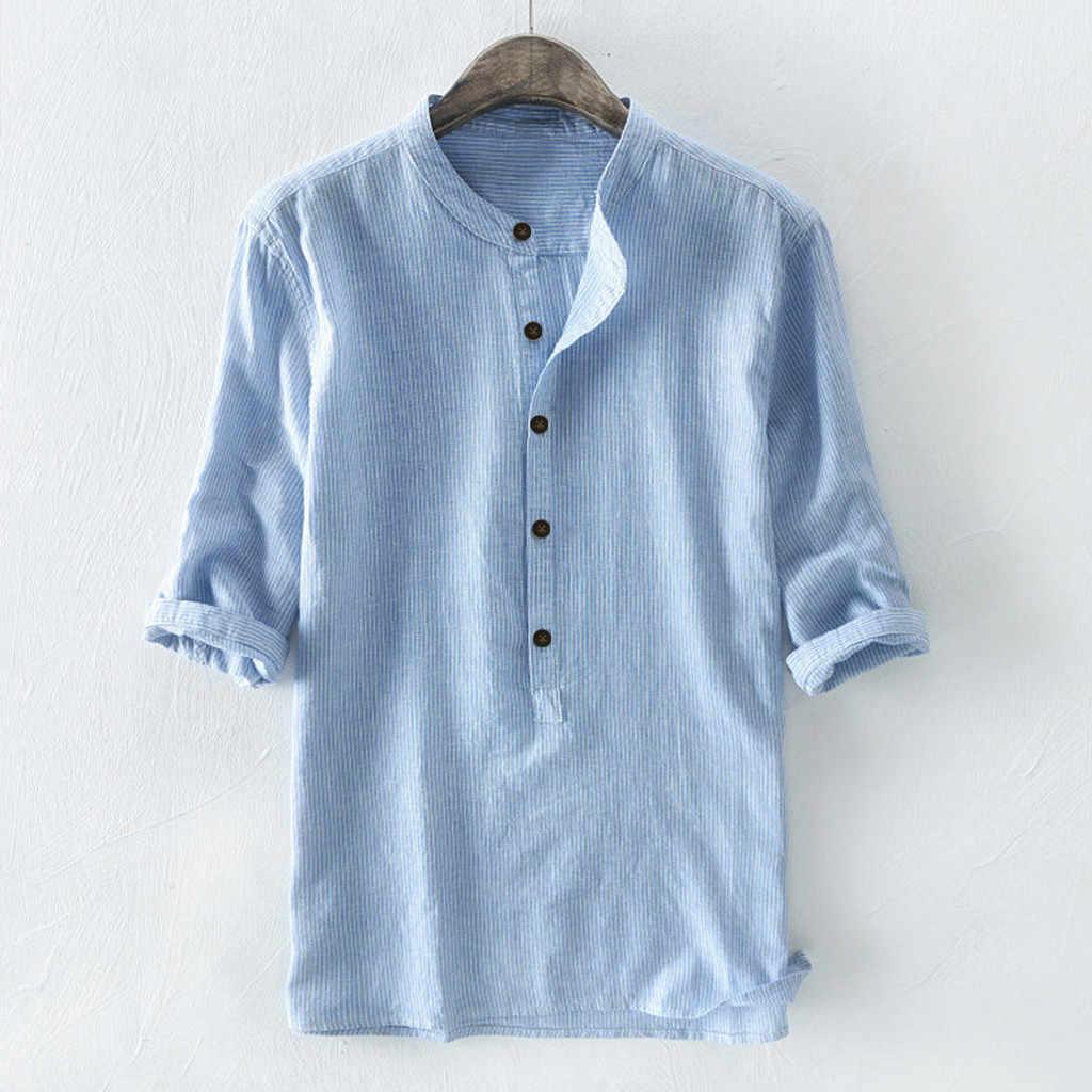 メンズシャツブラウストップ長袖ストライプボタンリネンと綿シャツ無地カジュアルアロハシャツ男性カミーサ masculina