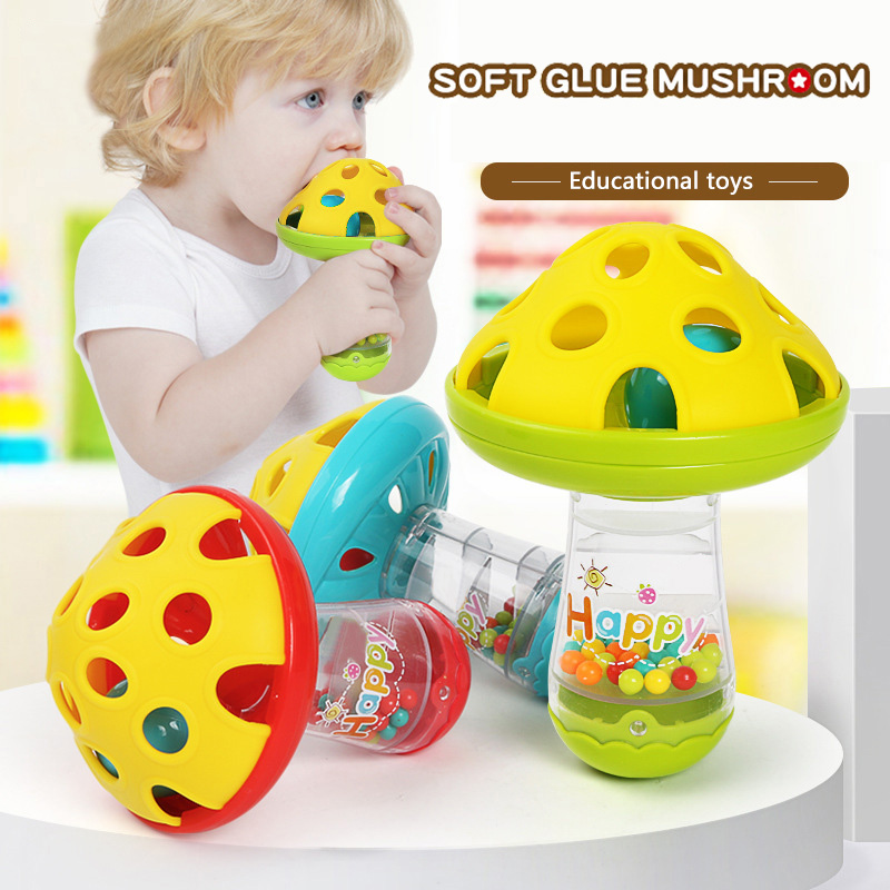 Adorável cogumelo mão sinos brinquedos molar macio infantil criança chocalho brinquedos música ritmo mão sinos brinquedo educativo