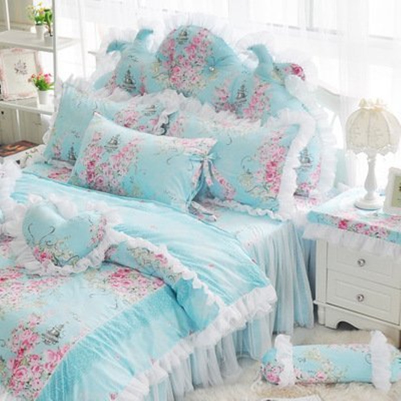 Free shipping Korean pure cotton pastoral lace princess bedding 3 4pcs twin full queen king size
