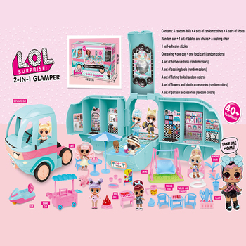 Original LOL Surprise Dolls DIY 2-in-1 Bus GLAMPER Toy Lols Doll Play House Games L.O.L SURPRISE Toys For Girls Birthday Gifts
