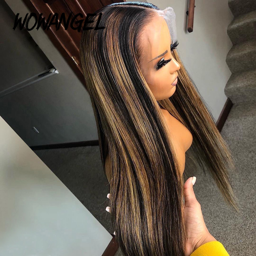 WOWANGEL Straight Colored Pre Plucked Glueless Full Lace Human Hair Wig Brazilian Remy Straight Colored Blonde Highlight Wigs