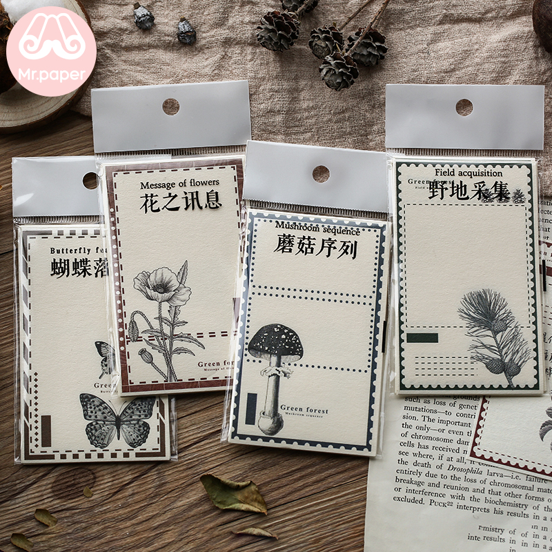 Mr.Paper 12pcs/lot High-quality Paper Butterfly Mori Froest Flower Memo Pads Scrapbooking Deco Creative Loose Leaf Memo Pads