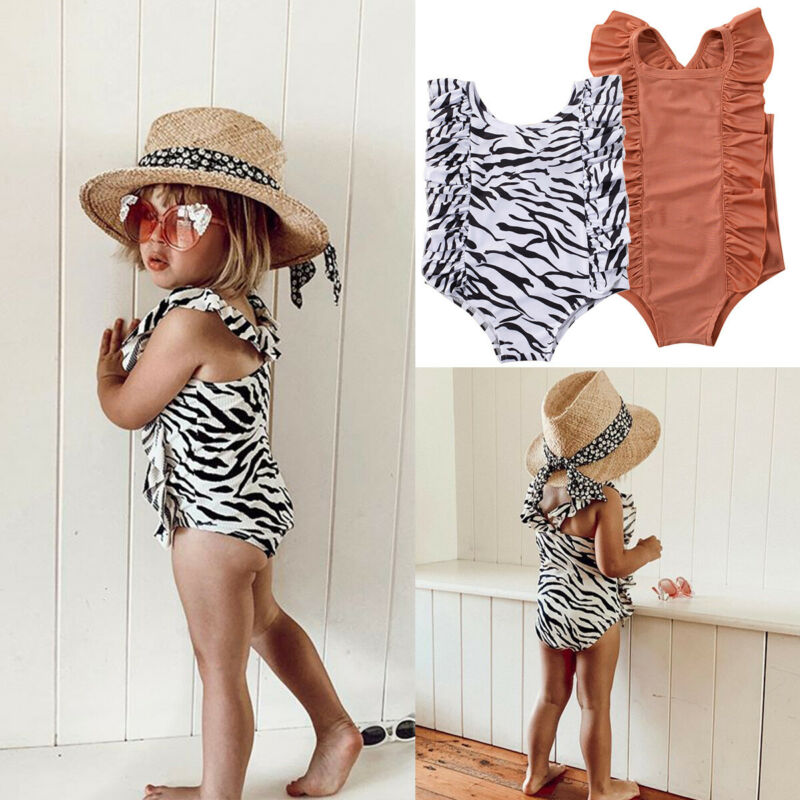 Toddler Baby Girls Zebra Pattern One-piece Ruffle Swimsuit Swimwear Swimming Clothes Summer Beach 1-6Y