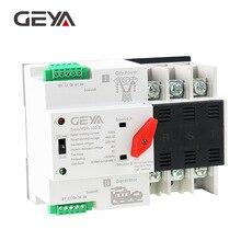 GEYA Din Rail ATS 110V 220V 3P 63A 100A ATSE двойной Мощность автоматического включения резерва 50/60Hz ПК Класс автоматический или ручной выбор