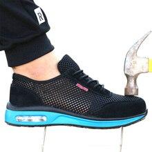 Мужские сетчатые кроссовки, легкие кроссовки со стальным носком, защита от ударов, дышащие, безопасная обувь для работы, 2019