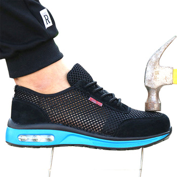 2019 Protective Shoes Breathable Safety Shoes Men's Lightweight Steel Toe Shoes Anti-smashing Piercing Work Single Mesh Sneakers new exhibition fashion safety shoes men s breathable mesh anti smashing piercing lightweight steel toe cap wear site work shoes