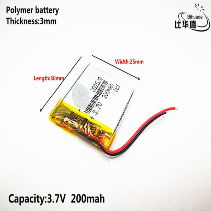 Good Qulity 3.7V,200mAH,<font><b>302530</b></font> Polymer lithium ion / Li-ion battery for TOY,POWER BANK,GPS,mp3,mp4 image