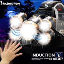 Super Bright Led Headlamp Zoom Headlight 5 LED T6 Head Torch Flashlight Waterproof Fishing Hunting 18650 Head Lamp