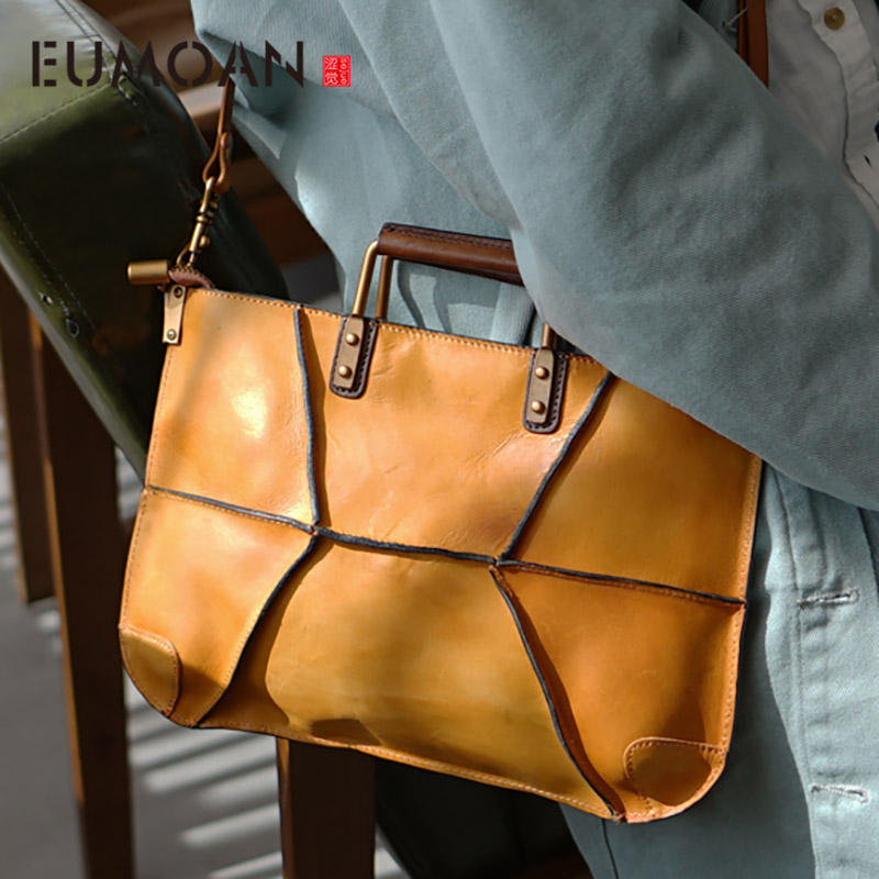 EUMOAN Handmade Minimalist Shoulder Bag, Women's Leather Handbag, Cowhide Stitching Vintage Slat Bag