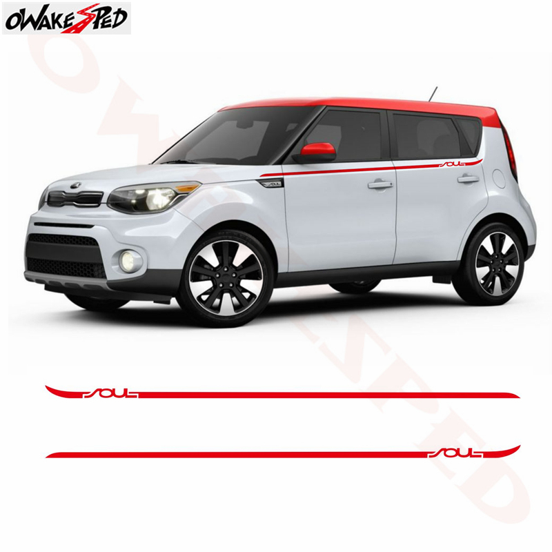 Car Body Sticker Side Stripes Graphics Vinyl Decals Waist Line Decor Stickers For Kia Soul 2008-2013 Auto Exterior Accessories
