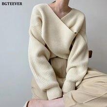 BGTEEVER-suéter cruzado con cuello en V para mujer, ropa de calle, prendas de punto holgadas de punto sólido para Otoño e Invierno
