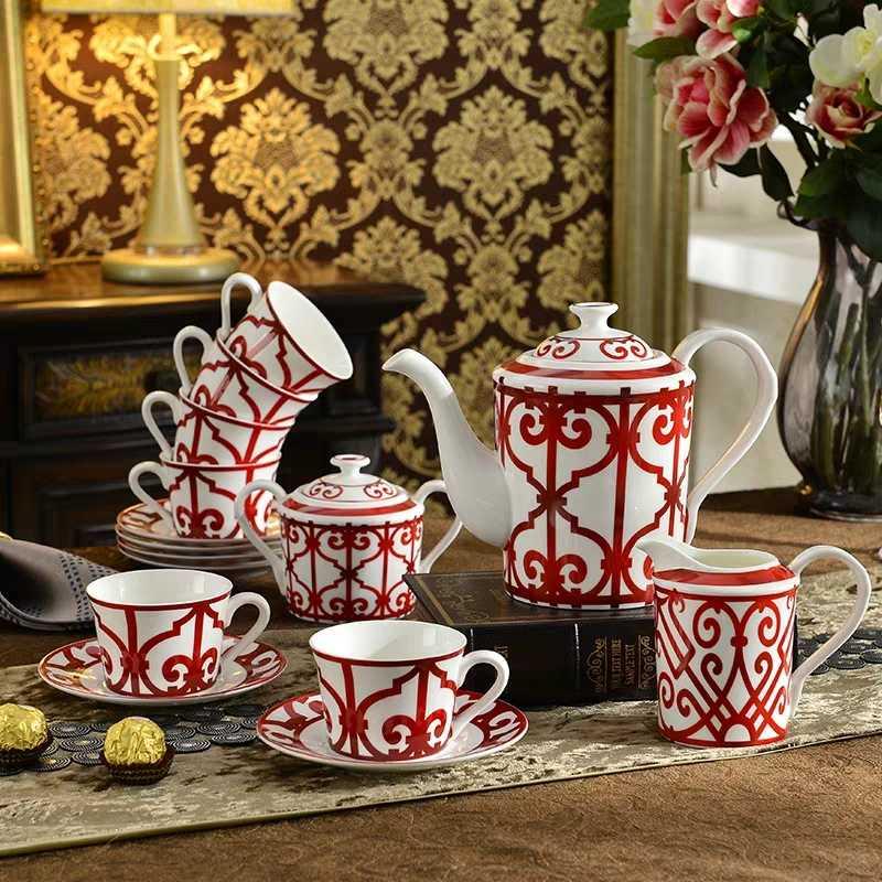 Coffrets de café en porcelaine | Service à thé européen haut de gamme, service à thé créatif de l'après-midi, ensemble théière et tasses, décorations pour la maison, livraison gratuite