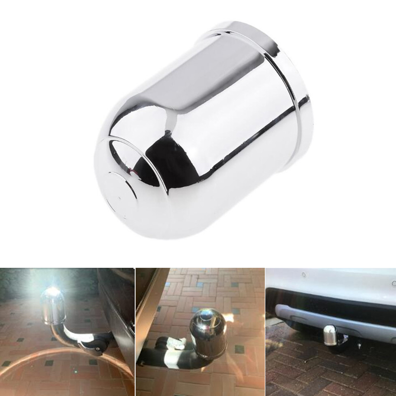 Universal 50mm Chrome Plastic Tow Bar Ball Cover Cap Car Towing  Protect Towbar Hitch Towball Protection Car Accessories