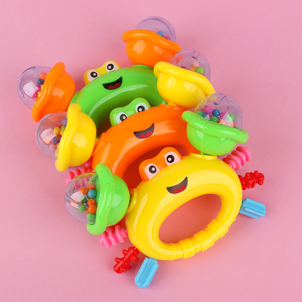 1 PC Baby Rattles Toys Cute Crab Shape Hand Bell For Children Kids Early Musical Educational Instrument Toy Birthday Gift Random
