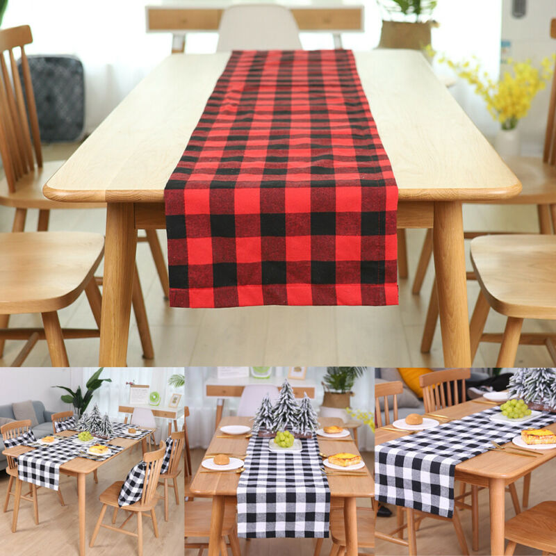 Cotton Christmas Dining Room Table Runner Cloth Flag Festival Home Party Decor