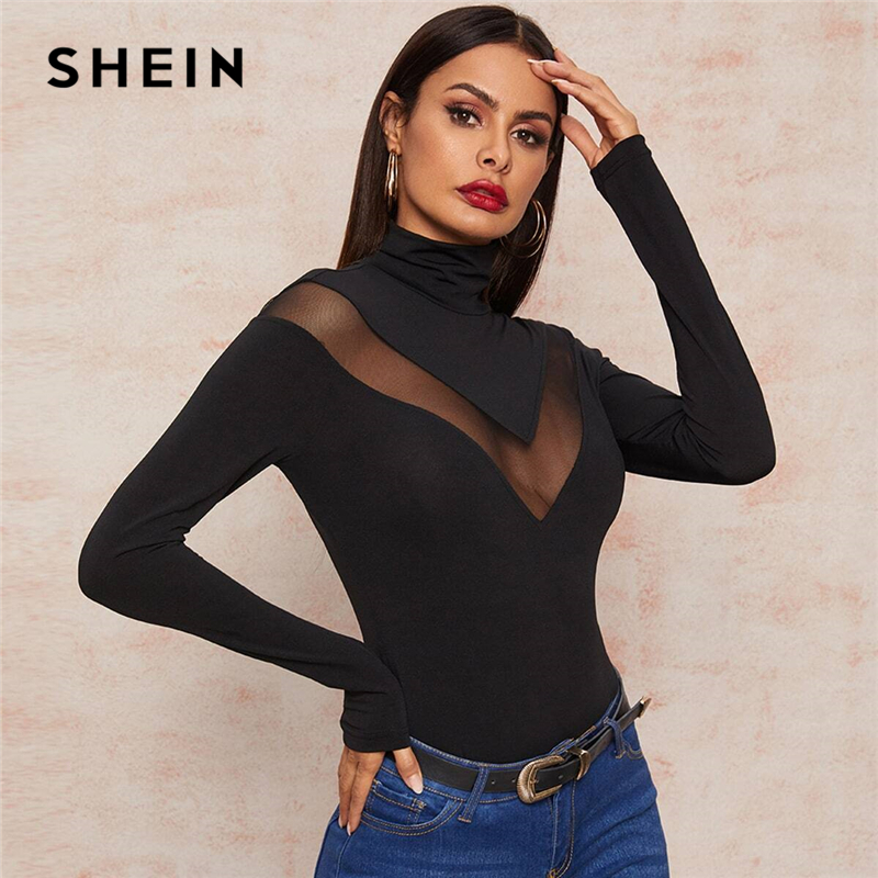 SHEIN Black High Neck Mesh Inert Form Fitted Sexy T-Shirt Women Tops 2020 Spring Long Sleeve Glamorous Sheer Solid Skinny Tees