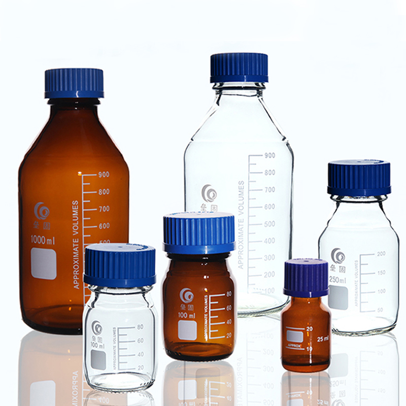 Lab Transparent/Brown Screw Cap Reagent Bottle Sealed Bottle Glass Laboratory Sample Bottle