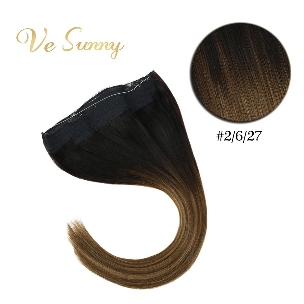 VeSunny One Piece Invisible Halo Hair Extensions Human Hair Fishing Wire With 2 Clips Balayage Ombre Brown To Caramel #2/6/27
