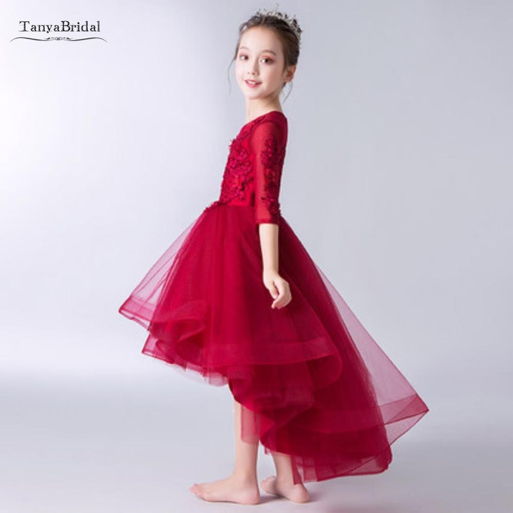 New   Flower     Girl     Dresses   Red Appliques High Low O-neck First Communion   Dresses   Hot SaleVestidos Longo Custom Make XF038