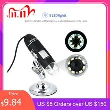 KKMOON microscopio electrónico 1000X 1600X, lupa con interfaz USB Digital, 8 LED + soporte de Metal