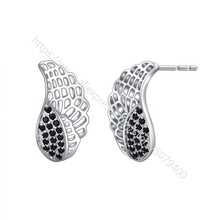 Angel Wing Stud Earrings Round Pave Set CZ Earrings Dainty Earrings Daily Wear Earrings white gold color plated jewelry