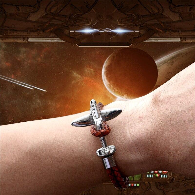 MKENDN Titanium Stainless Steel Airplane Anchor Bracelets Men Multilayer Braid Genuine Leather Bracelet Women Friendship Gifts
