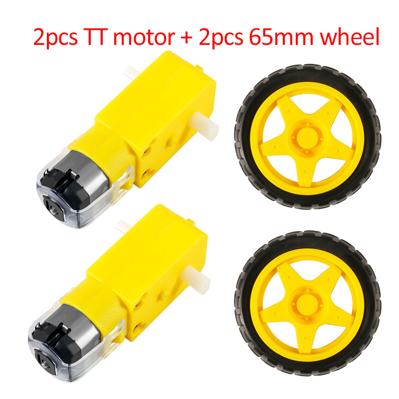 TT Motor + 65mm Wheel DC 3-6V 130 Gear Motor with Wheel for Arduino Smart Car Robot Intelligent Car Chassis Four Drive