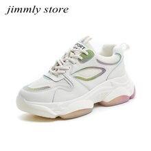 Zapatillas de deporte gruesas para mujer, zapatos informales de plataforma, moda reflectante, deportivas blancas, Tenis