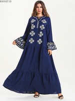 Khoshtib Women's Dress Muslim Robe Spring Autumn Large Size Arab Bell Sleeve Big Pendulum Embroidered Long Muslim Dress