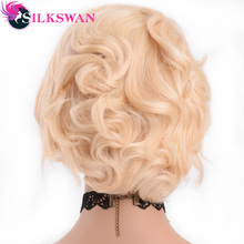 Silkswan Short  Pixie Cut Wigs Human Remy Hair 150 Density 613 Wig For Woman Blonde Lace Front