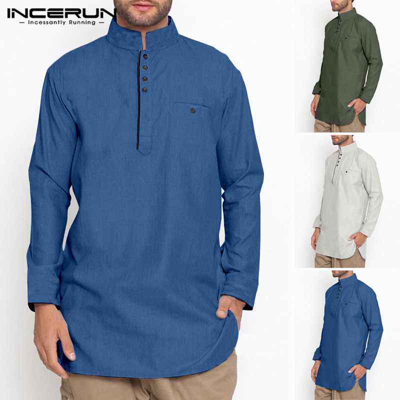 INCERUN Vintage Men Shirt Cotton Stand Collar Long Sleeve Button Solid Color Long Shirts Men  Suit Muslim Clothing 2020 5XL