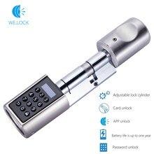 WE.LOCK-cerradura con contraseña y Bluetooth, cerradura inteligente de puerta con tarjeta RFID, electrónica, cilindro de bloqueo ajustable sin llave