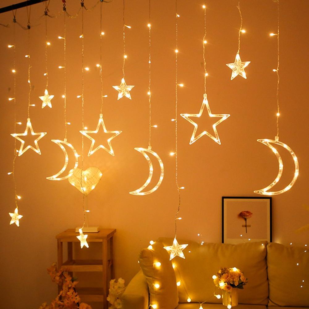 Étoile lune Led rideau guirlande chaîne lumière Eid moubarak Ramadan décoration Islam musulman fête décor Eid Al Adha cadeau Eid moubarak