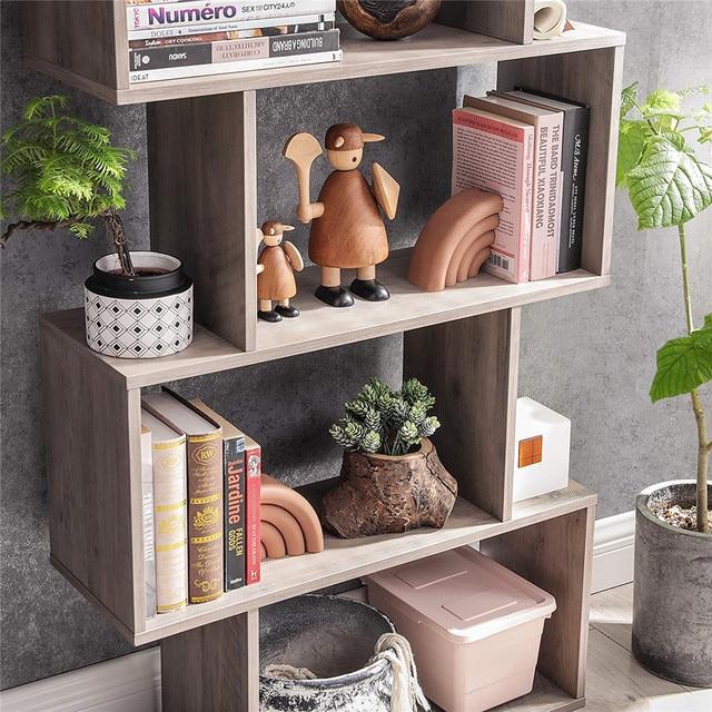 Staggered Bookcase Wooden Industrial Style 5-Tier Display Rack Room Divider Freestanding Storage Shelf Bookshelf Vintage Color 6