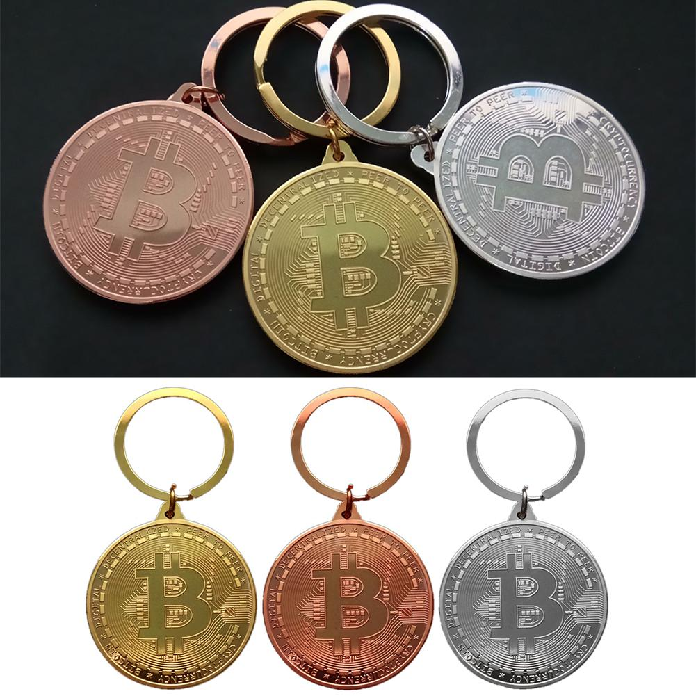 Gold Plated Bitcoin Coin Key Ring Collectible Gift Casascius Bit Coin BTC Coin Art Collection Physical Commemorative Key Chain-5