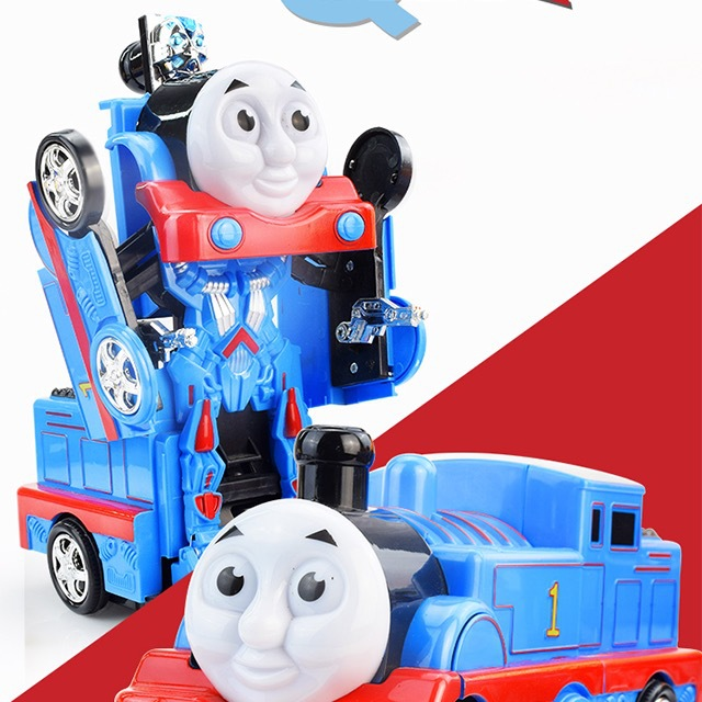 CHILDREN'S Electric Toy Car Transformation Car Robot Universal Music Thomas Car Boy Toy Gift Batch