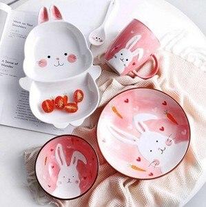 Креативная керамическая посуда для милых животных, тарелка с рисовой мультяшной тарелкой, тарелка для завтрака с кроликом, Западная тарелк...