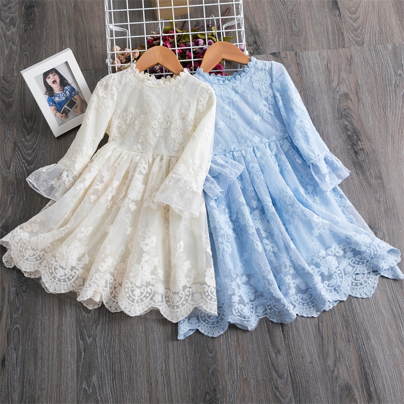 New Arrival Petal Sleeve Girls Spring Summer Dress Flower Wedding Dresses Solid Children Party Costumes Kids Baby Clothing 3 7Y 1
