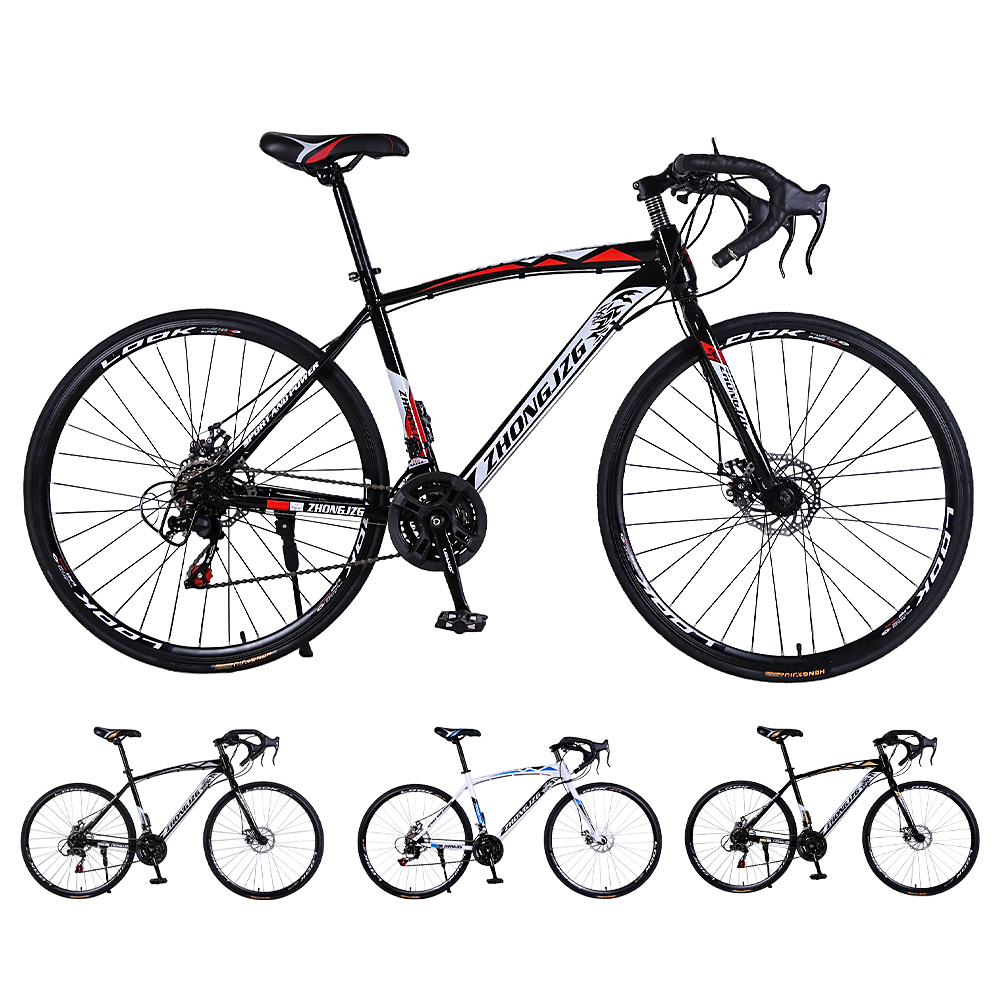 High-Carbon Steel 30 Rim Road Bicycle Racing Car 30 Speed Bend, Double Disc Brake, 700C Speed Change Student Bicycle