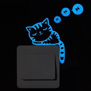 Cartoon DIY Cat Fairy stars Fluorescent Switch Sticker Glow in the Dark star wall stickers for kids rooms decoration home decor