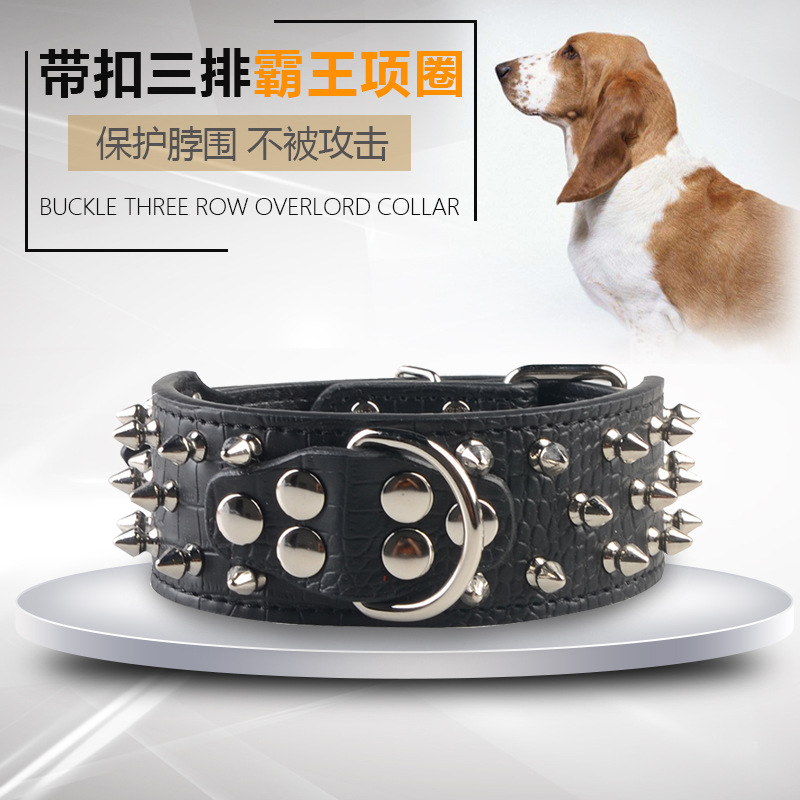 With Rivet Hide Substance Dog Collar Large And Medium-sized Quan Xiang Quan Dog Anti-Bite Collar Black And White With Pattern Si