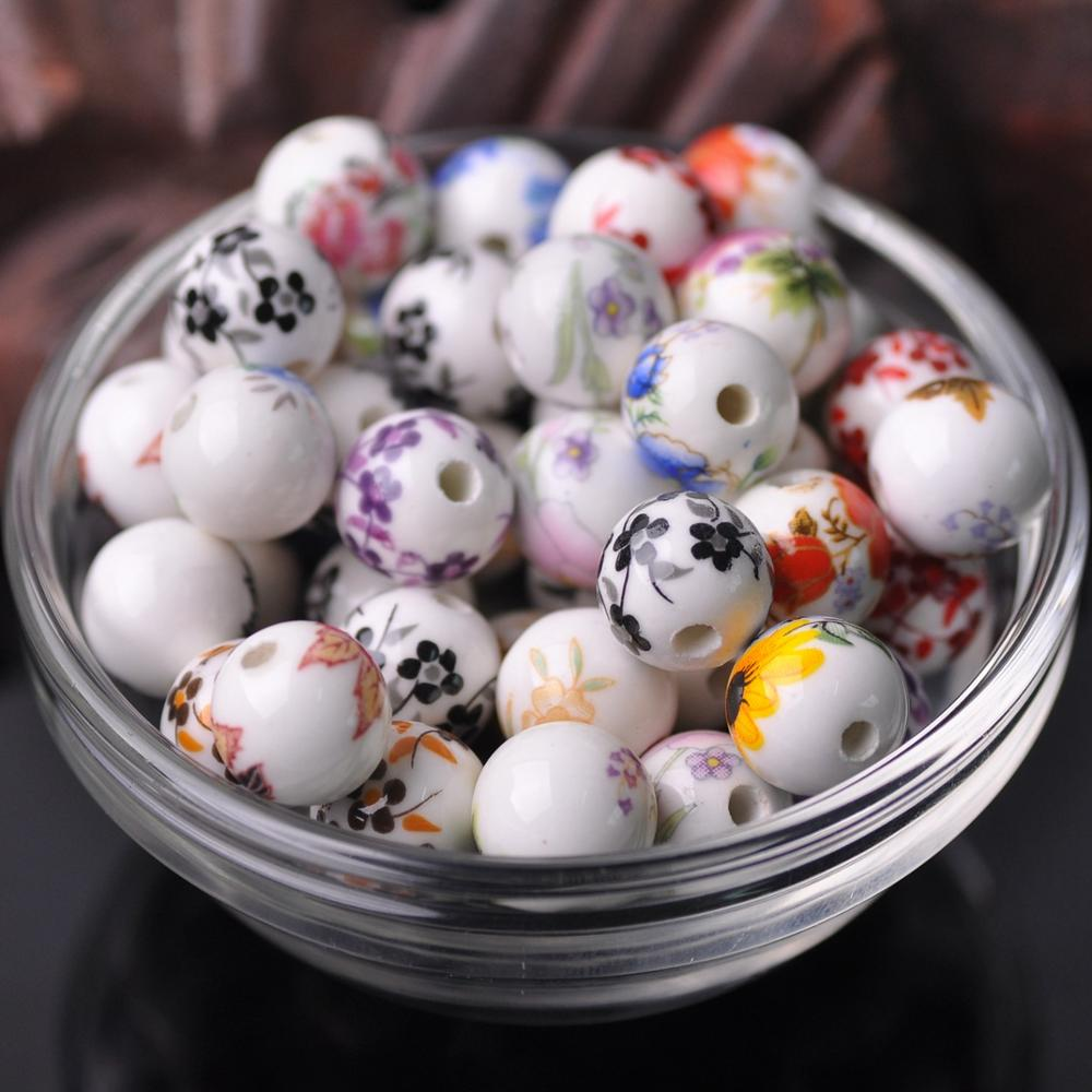10 шт 10 мм 12 мм цветочные узоры круглые керамические фарфоровые бусины россыпью для поделок своими руками браслет для изготовления ювелирны...