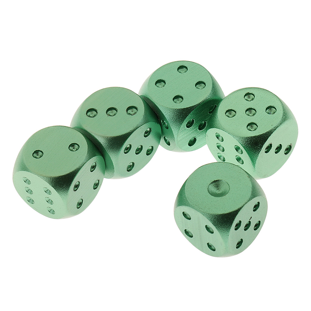 15mm Aluminium Alloy Drinking Game Dice Gambling Guessing Game Green Blue